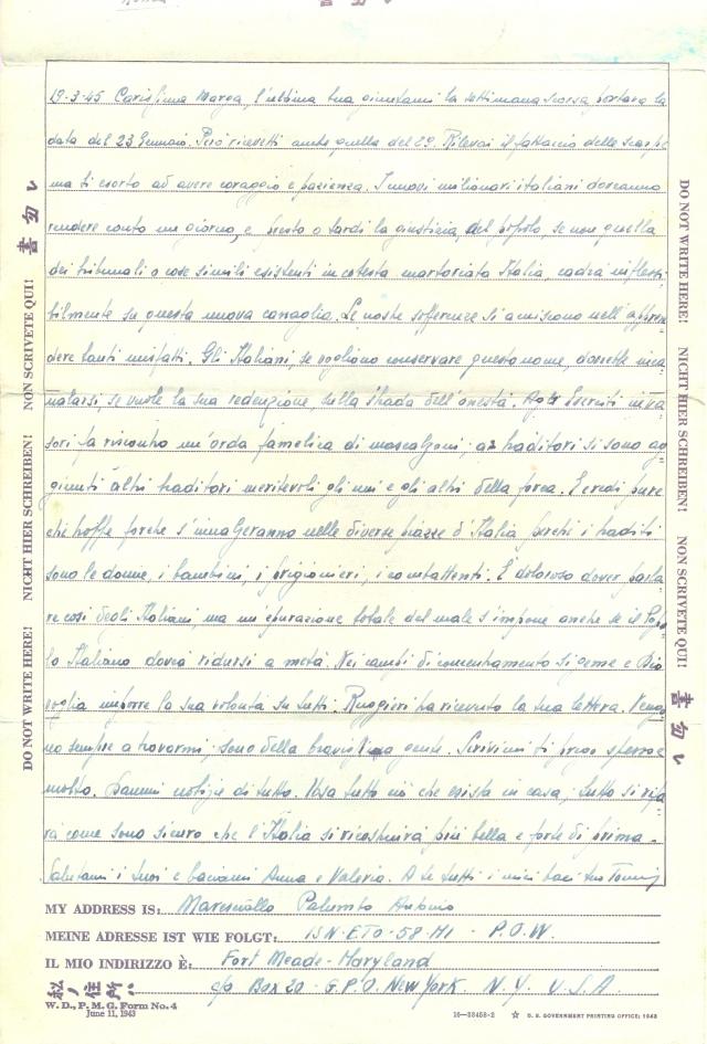 Lettera 16 - 19.3.1945