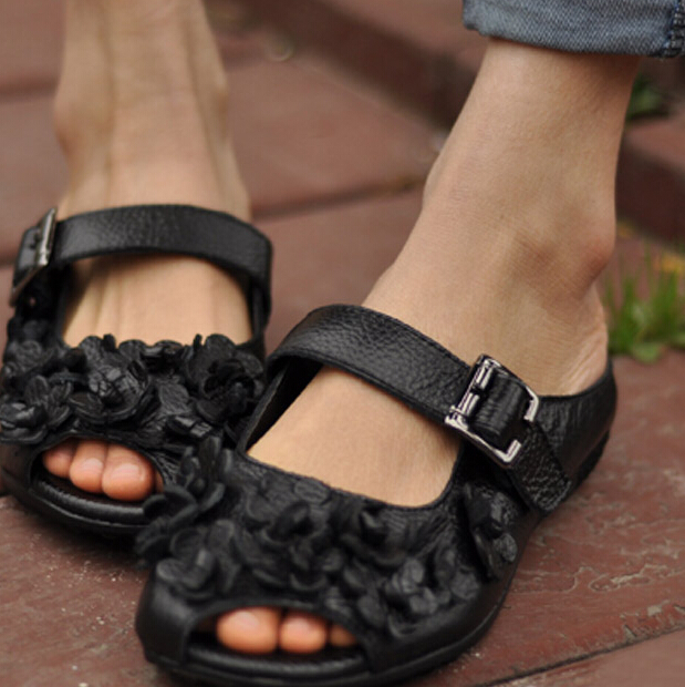 2015-vintage-handmade-genuine-leather-sandals-national-trend-flower-open-toe-flat-slippers-free-shipping